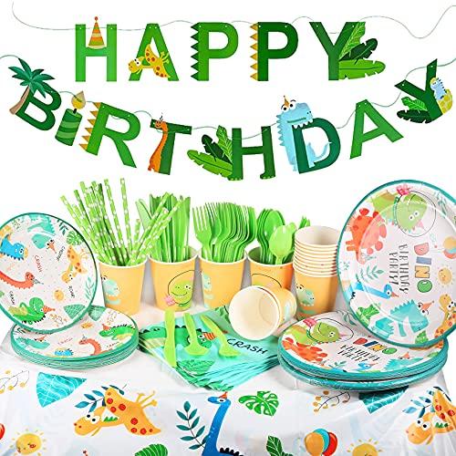 Yosemy 130 PCS Geburtstag Party Set Dinosaurier Partyzubehör Geburtstag Geschirr Kit Dekorationen für 16 Kindergeburtstag, Party Deko mit Teller, Trinkhalme, Servietten, Besteck, Banner, Tischdecke