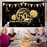 50. Geburtstag Party Dekoration, Extra Große Stoff Schild Poster zum 50. Jahrestag Foto Stand Hintergrund Banner, 50. Geburtstag Party Lieferunge (Schwarz Gold) - 4