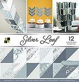DCWV Card Stock 12'X12' Premium Printed Cardstock Stack, Silver Leaf, 18 designs/2 each