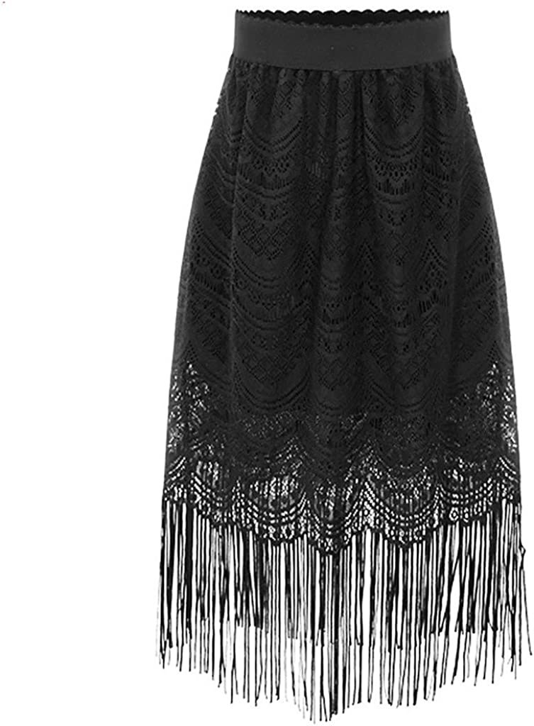 ZANLICE Women's Lace Hollow Out Knee Length Tassel Skirt
