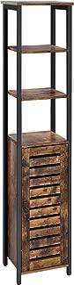 VASAGLE Industrial Bathroom Storage Cabinet, Narrow Floor Standing Shelf, with 3 Shelves and Cupboard, Tall, Multipurpose in the Living Room, Bedroom, Hallway, Kitchen, Rustic Brown ULSC37BX