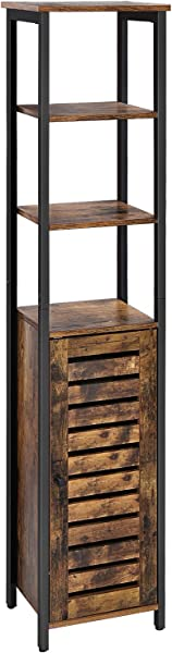 VASAGLE Industrial Bathroom Storage Cabinet Narrow Floor Standing Shelf With 3 Shelves And Cupboard Tall Multipurpose In The Living Room Bedroom Hallway Kitchen Rustic Brown ULSC37BX