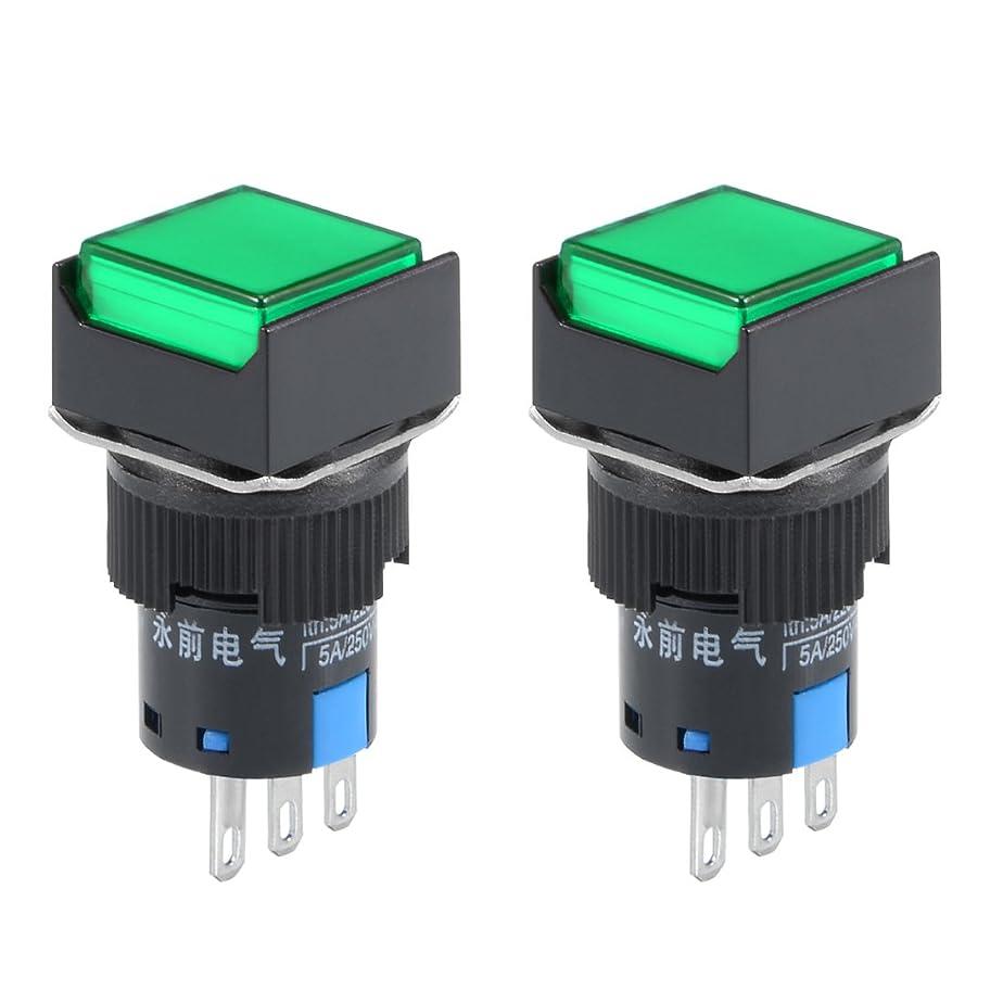 寛容な明確に電卓uxcell プッシュボタンスイッチ 穴径16mm グリーンライト 1 NO 1 NC AC 250V/5A DPDT DPST SPDT 2個入り