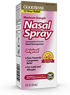 GoodSense Maximum Strength Nasal Spray, Fast Powerful Congestion Relief For Colds and Allergies