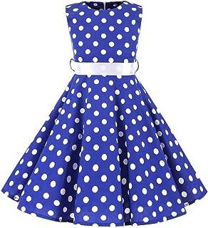 404b6e2c95f74 SXSHUN Robe Fille Enfant de Bal Polka Vintage pin-up à  Audrey Hepburn