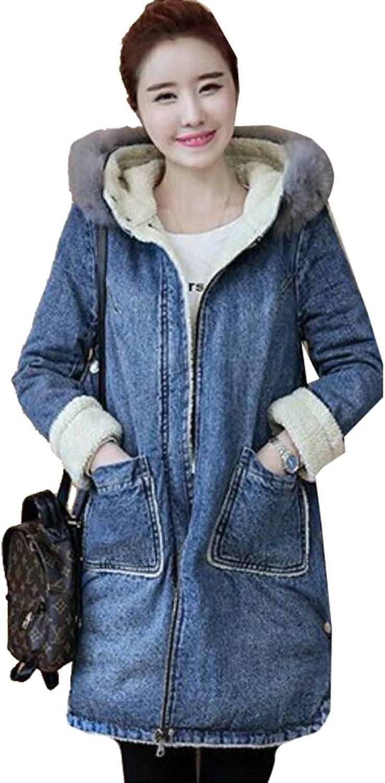 Esast Women's Long Sleeve Sherpa Lined Denim Zipper Ripped Jeans Hoodie Jacket