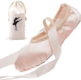 Panegy Zapatos de Ballet para Niña Zapatillas de Danza Cuero Calzado de Danza Suela Partida de Cuero