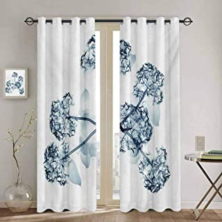 Flower Room Darkened Heat Insulation Curtain X-ray Image of Hortentia Flower Nature Inspired Deeper Crystal Close Look Art Print Soundproof Shade W72 x L72 inch Teal White