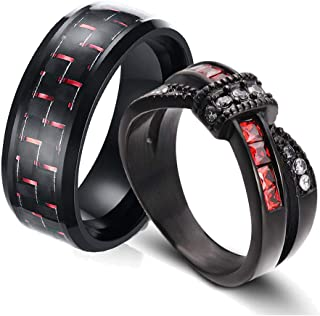 Two Rings His and Hers Couple Ring Bridal Set His Hers Women Black Gold Filled Red Cz Man Stainless Steel Wedding Ring Band Set