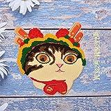 iron on patch,parches para ropa,Aplique de bordado, utilizado para decorar ropa para reparar agujeros en la ropa, 1p sombrero de flor de gato grande
