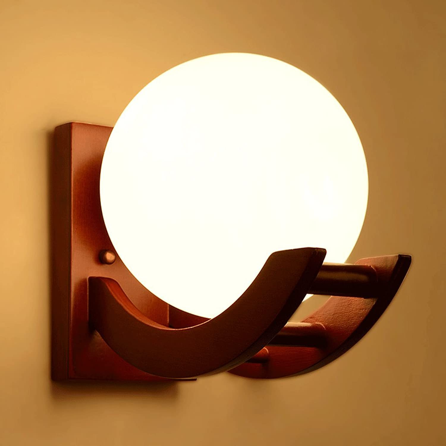Innenbeleuchtung Wall Lights E27 Solid Wood Glass American Style Wall Lamp for Living Room Bedroom Corridor