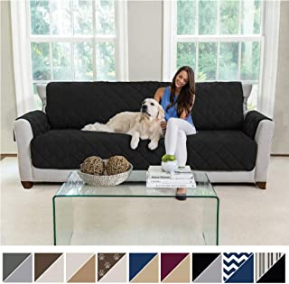 MIGHTY MONKEY Premium Reversible Sofa Slipcover, Seat Width to 78 Inch Furniture Protector, 2 Inch Elastic Strap, Washable Couch Slip Cover, Protect from Kids, Dogs, Cats, Oversized Sofa, Black Gray