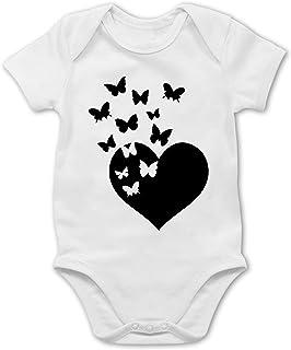 Shirtracer Valentinstag Baby - Herz mit Schmetterlingen - schwarz - Baby Body Kurzarm für Jungen und Mädchen