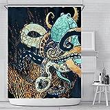 YULUOSHA Funny Sea Animal Duschvorhang Gold Blau Octopus Badezimmer Vorhang Ocean Life Duschvorhang Badezimmer Dekor mit Haken Wasserdicht Waschbar 182,9 x 182,9 cm - Gold Schwarz Blau
