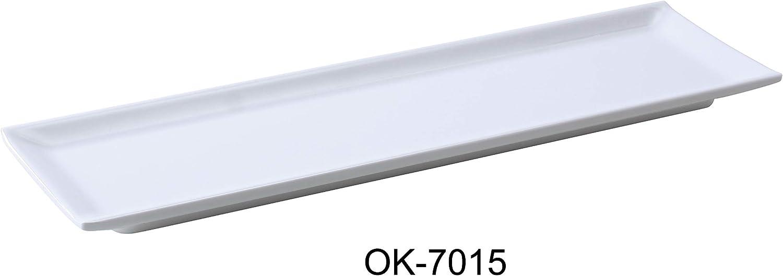 Yanco OK-7015 Osaka-2 Sushi Plate, 14.5  Length, 4.25  Width, Melamine, White color, Pack of 12