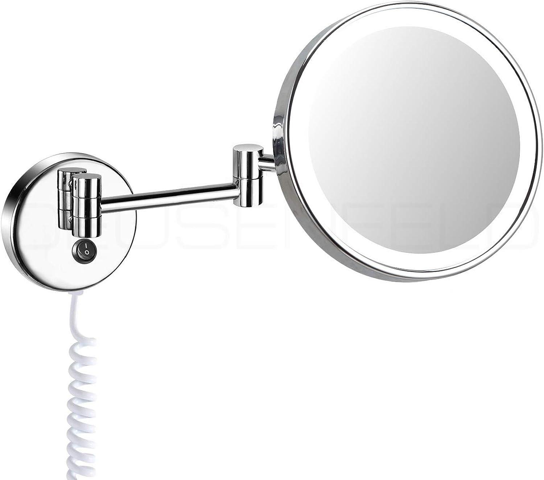 DEUSENFELD WLED500 - beleuchteter Tageslicht LED Kosmetikspiegel 5 - Fach Vergrerung,  20cm, verchromt, sehr hell