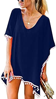 Plusnuolee Women's Chiffon Tassel Beachwear Swimsuit Bathing Suit Cover Up Bikini Cover Up Floral Beach Cover Up