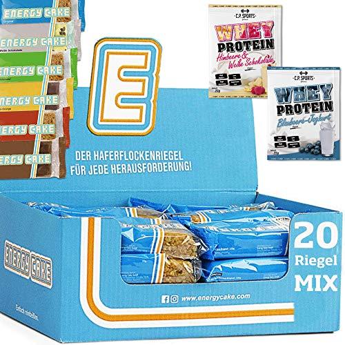 Energy Cake MIX BOX 20 x 125g Energieriegel – mit Haferflocken, Protein, Kohlenhydrate, Ballaststoffe – ideal für Sport & Fitness + 2 x C.P. Sports Whey Protein 25g Portionsbeutel MIX gratis