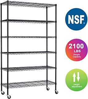 "6 Shelf Wire Shelving Unit NSF Garage Storage Shelves Large Heavy Duty Metal Shelf Organizer Height Adjustable Commercial Grade Steel Rack 2100 LBS Capacity with Wheels 82""x48""x18"",Black"