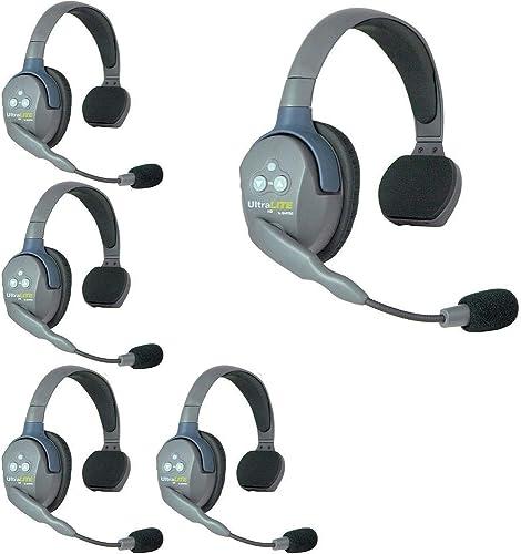 lowest Eartec UL5S online 5-Person popular Full Duplex Wireless Intercom with 5 Ultralite Single Ear Headsets online sale