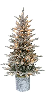 Puleo International 4.5 Foot Pre-Lit Potted Flocked Arctic Fir Artificial Christmas Tree with 70 UL-Listed Clear Lights