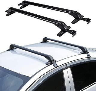 IRONWALLS 2PCS Universal Roof Racks Crossbars Cargo Load Bars Aluminum Black with Anti-Theft Locks