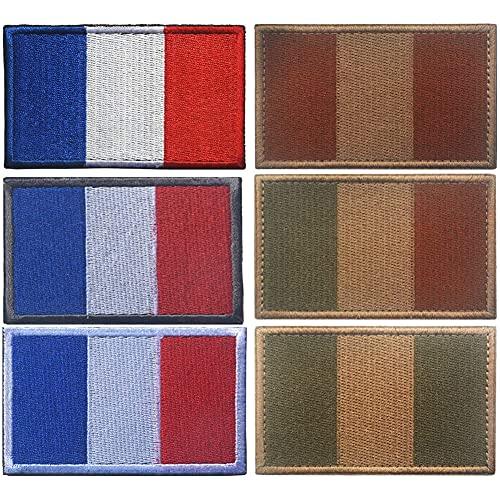 Parche de la bandera nacional de Francia, insignia bordada de tela de la moral francesa táctica militar del ejército aplique coser el emblema Uniforme bucles y gancho