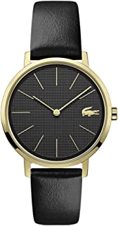 Lacoste Yellow Gold IP Quartz Watch with Leather Strap, Black, 16 (Model: 2001079)