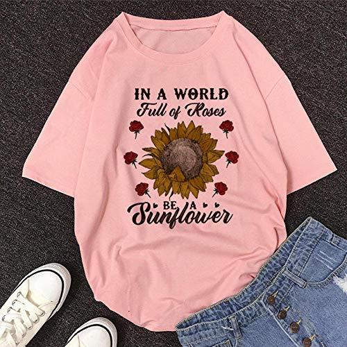 T-Shirt Femme Tshirt New Summer O-Neck Manches Courtes T-Shirt Mignon De Bande Dessinée Femmes L 11500-Rose