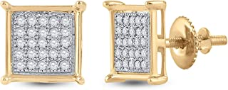 Diamond2Deal - Orecchini quadrati da donna in oro giallo 10 kt, con diamanti rotondi, 1/6 ct