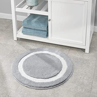 mDesign Soft Microfiber Polyester Non-Slip Extra-Long Spa Mat/Runner, Plush Water Absorbent Accent Rug for Bathroom Vanity, B