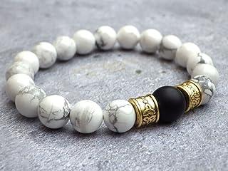 Bracciale per gli uomini in perline di Howlite bianchi e perla agata nera