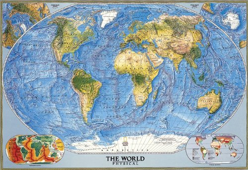 National Geographic Maps World Physical Wall Map Map Type: Standard Size Laminated (30