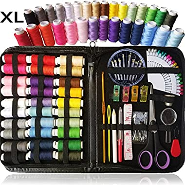 Sewing KIT, Over 100 XL Quality Sewing Supplies, 30 XL Spools of Thread, XL Sewing kit for DIY, Beginners, Emergency, Kids, Summer Campers, Travel and Home