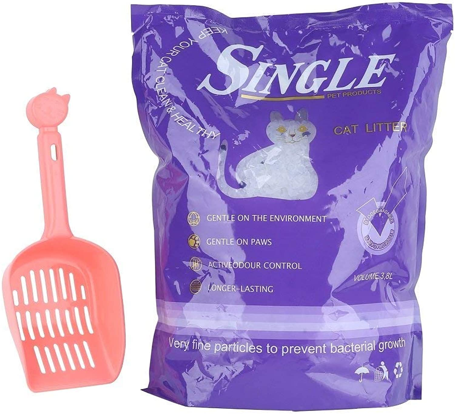 Anleo Crystal Cat Litter 3.8L and Free Scoop Easy Care Fresh Clumping White Silica Litter