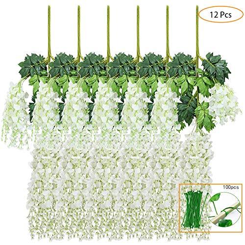 New rui cheng Plantes Suspendues Artificielles, Feuilles Artificielles Fleur Blanche 12 Pack Fausse Vigne Plante Suspendue Guirlande Feuilles Vertes Plante en Plastique Jardin Mariage Décor Murale