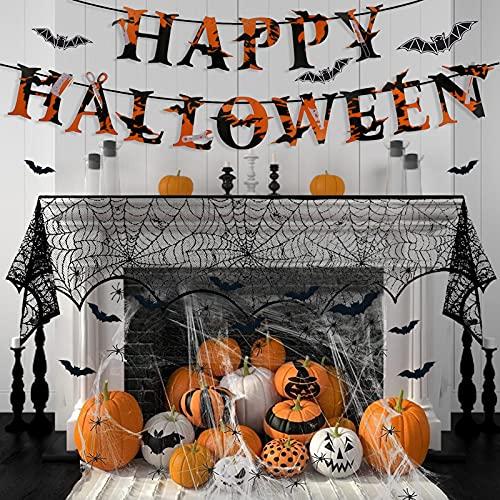 TaimeiMao 3 Stück Halloween Spinnennetz Deko Set,Schwarz Spitze Spinnennetz und 30 Spinnen Horror,Spinnen Halloween Deko,Halloween Garten Deko Spinnen Netz,für Kamin Tür Fasching Halloween Party