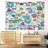 Y·JIANG Tapiz de la vida marina, peces ballena corales y plantas para el hogar, tapiz grande decorativo, manta ancha para colgar en la pared para sala de estar, dormitorio, 60 x 50 pulgadas