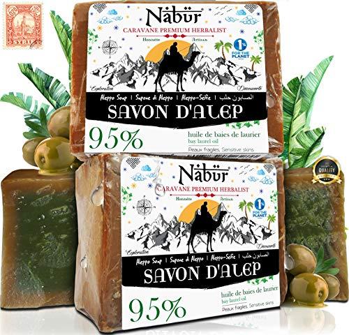 Nabür - 2 Aleppo-tvålar   95 % olivolja + 5 % lagerolja   3-i-1   handgjord – veganvänlig   extra mild, ansiktsmask, kropp, solid schampo