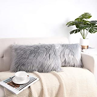 WLNUI Decorative Light Gray Fluffy Pillow Covers New Luxury Series Merino Style Faux Fur Throw Pillow Covers Fuzzy Cushion Cover 12x20 Inches 30x50 cm