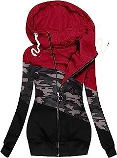 Longpullover Damen Herbst Winter Reißverschluss Jacke Sweatshirt Langarm Mantel Hoodie Kapuzenpullover Warme Lange Jacke M...