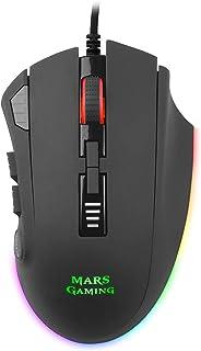 Mars Gaming MM418, Ratón Gaming RGB 3200DPI, Sensor Óptico, 12 botones, Negro