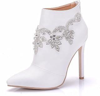 09cae1edc48db9 Femmes Unique Cheville Cuir Bottes blanc Mariage De mariée Chaussures  Strass Robe Fête Pointu Haute Talon