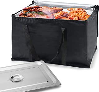 Oxford Food Delivery Bag – Premium Large Commercial Catering Bag ,Heavy Duty Bag for Food Transport - Hot and Cold Thermal Insulated Food Carrier with Zippers -23in x 13in x 15in(H)