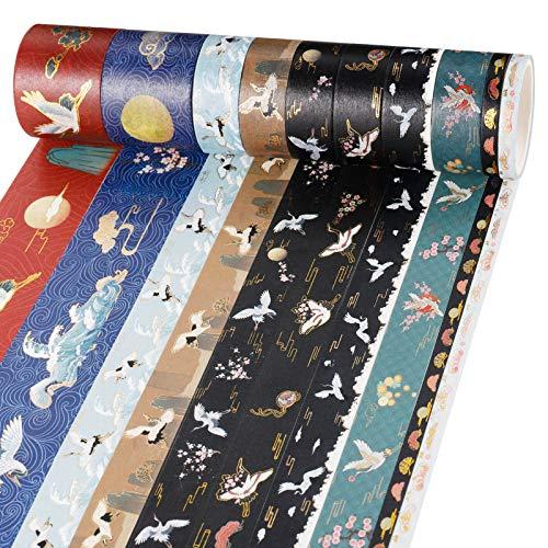 Xinzistar 10 Rollen Washi Tape mit Gold Folie, Dekorativ Stamping Masking Tape Vintage Washi Tape Set für DIY Handwerk Scrapbooking Bullet Journal Geschenkverpackung