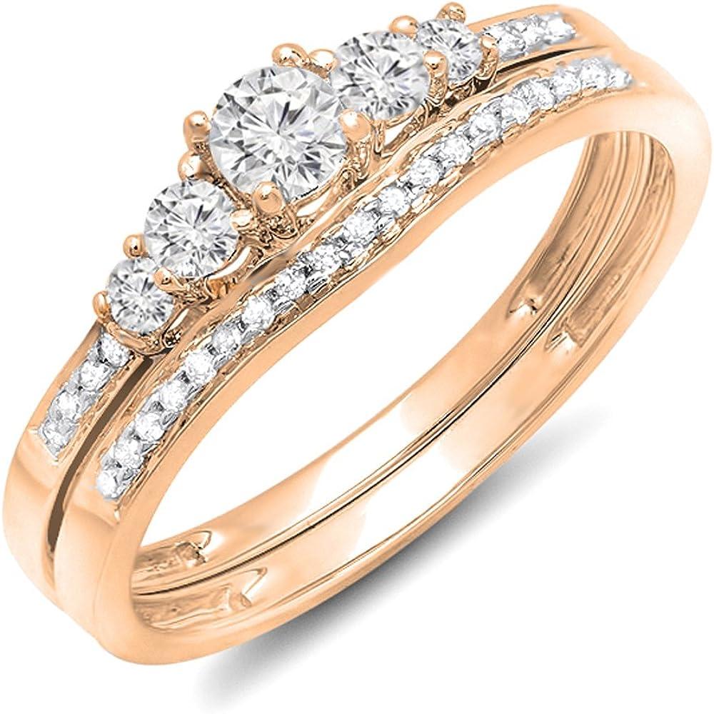 Dazzlingrock Collection 0.45 Carat (ctw) 10k Gold Round Diamond Ladies 5 Stone Bridal Engagement Ring Matching Band Set
