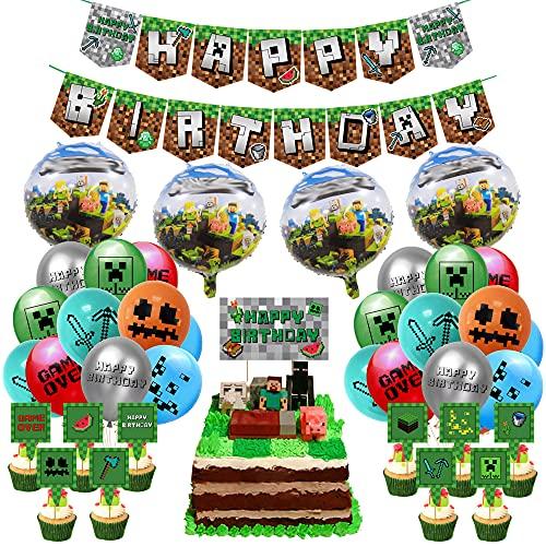 Gaming Cumpleaños Decoracion, Suministros de Fiestas de Videojuegos, gamer decoracion, partido de juego incluye banner de feliz cumpleaños, globos para tartas y cinta