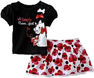Infant Girls Aristocats Black Marie Kitty Cat Shirt Flower Skirt Set