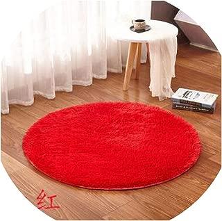 Round Carpet Anti-Slip Bedroom Mat Floor Door Carpet for Living Room Mat Play Cover Beige Alfombras,Red,Diameter 80cm