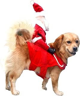 NACOCO Christmas Dog Costumes Santa Claus Riding on Dog Pet Cat Suit
